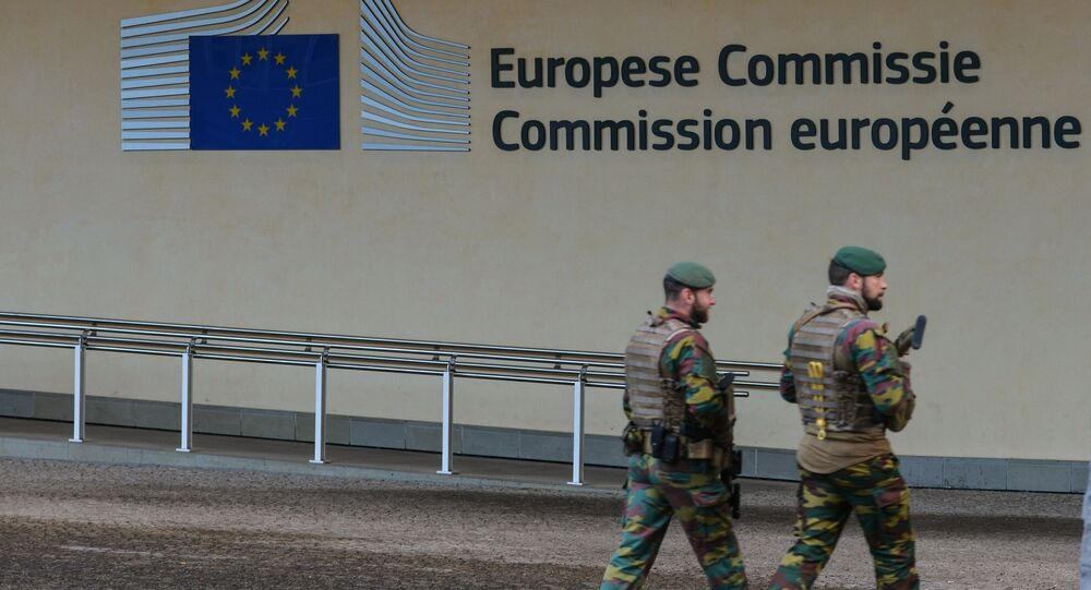 The European Union logo on the European Commission headquarters in Brussels