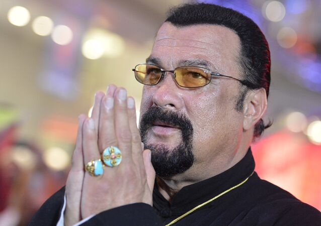 American actor, film producer and scriptwriter, martial artist and musician Steven Seagal at Moscow's Alley of Glory (File)