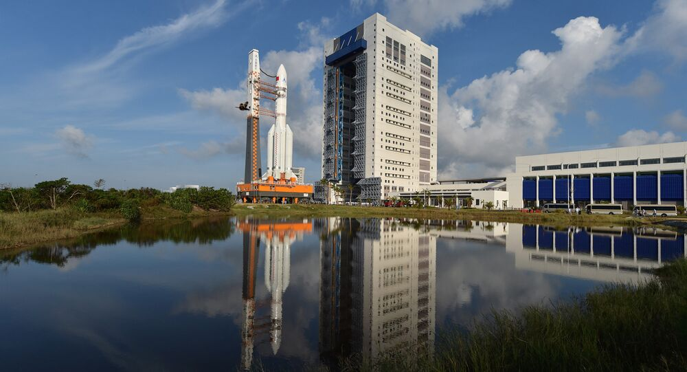 A Long March 5 carrier rocket is transferred to a launching area in Wenchang, Hainan Province, China, October 28, 2016