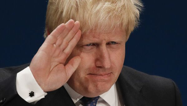British Foreign Secretary Boris Johnson delivers a speech on the first day of the Conservative party annual conference at the International Convention Centre in Birmingham, central England, on October 2, 2016. - Sputnik International