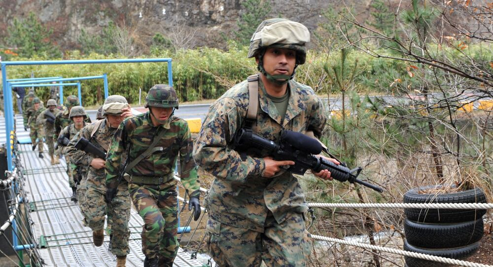 US and South Korean marines carrying out drills. File photo.