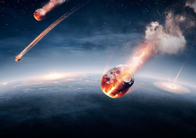 Meteorites on their way to the Earth and breaking through atmosphere (Elements of this image furnished by NASA- earthmap for 3Drender).