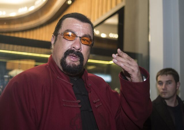 US actor Steven Seagal attends the presentation of the new model of the U-Boat capsule watch
