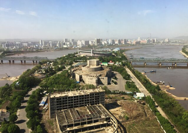 A view of Pyongyang from one of the modern high-rise buildings in the city.