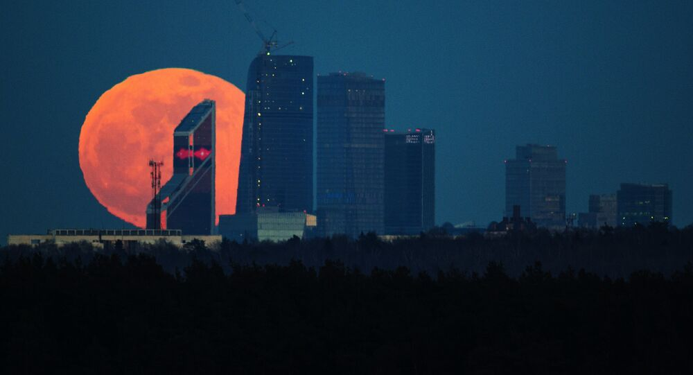 A full moon over the Moscow City International Business Center