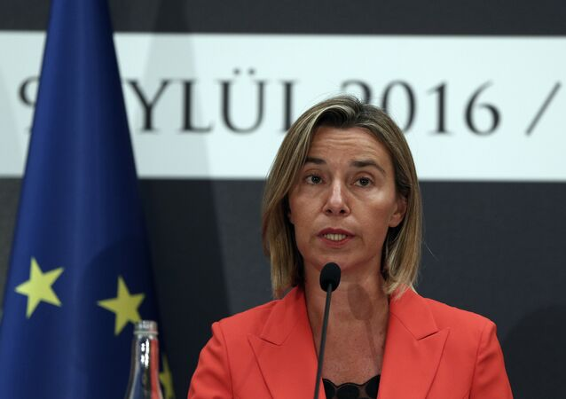 European Union's Foreign Policy Chief Federica Mogherini speaks to the media at a news conference after talks with Turkish officials in Ankara (File)