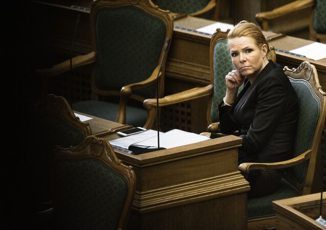 Denmark's Minister of Immigration and Integration Inger Stojberg listen to the debate in the Danish Parliament in Copenhagen (File)