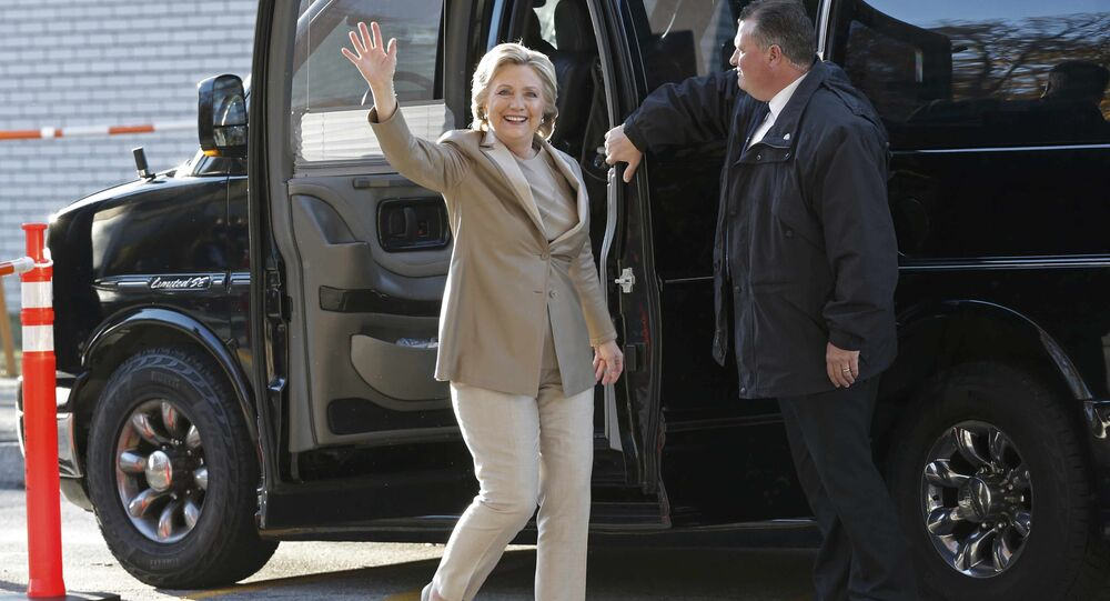 Democratic presidential candidate Hillary Clinton arrives to vote in the U.S. presidential election at Grafflin Elementary School in Chappaqua, New York November 8, 2016