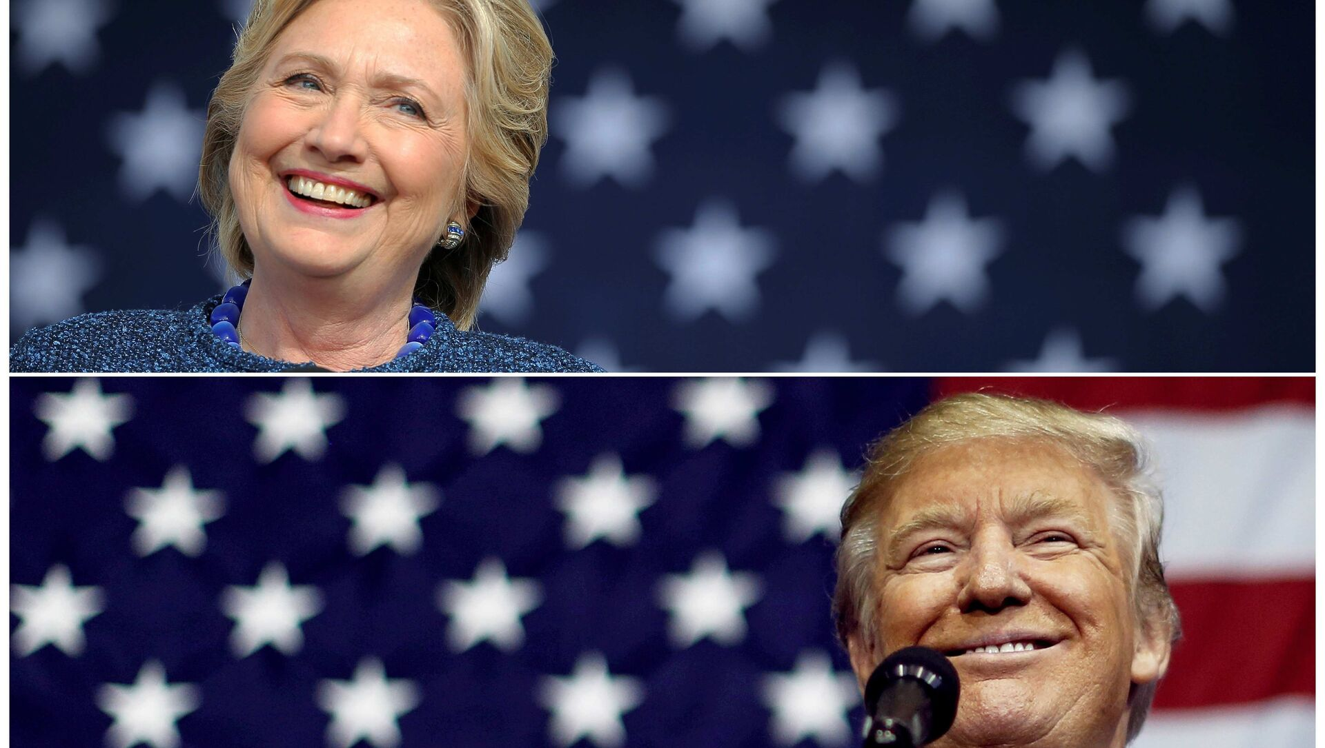 U.S. presidential nominees Hillary Clinton (top) and Donald Trump speak at campaign rallies in Cedar Rapids, Iowa, U.S. October 28, 2016 and Delaware, Ohio October 20, 2016 in a combination of file photos. - Sputnik International, 1920, 05.08.2021