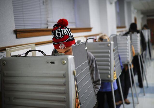 Voting booth in Cincinnati, 2016