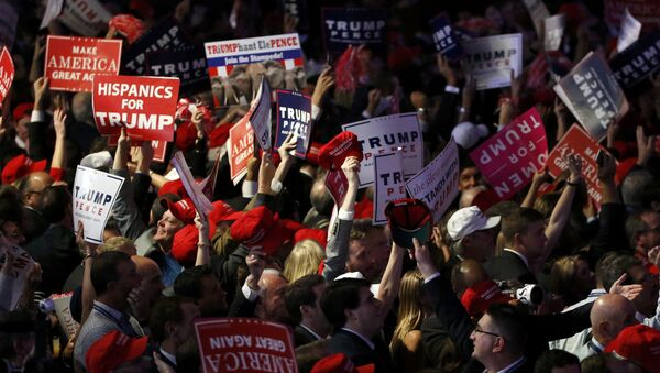 Trump supporters celebrate as election returns come in at Republican U.S. presidential nominee Donald Trump's election night rally in Manhattan, New York, U.S., November 8, 2016 - Sputnik International