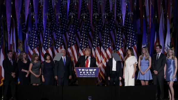 U.S. President-elect Donald Trump, along with his family and running mate Mike Pence, addresses supporters during his election night rally in Manhattan, New York, U.S., November 9, 2016 - Sputnik International