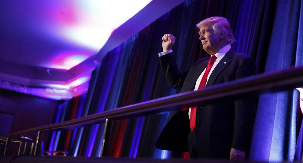 Republican U.S. presidential nominee Donald Trump arrives to address supporters at his election night rally in Manhattan, New York, U.S., November 9, 2016