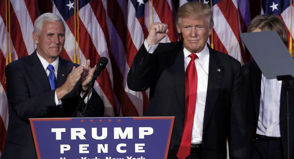 U.S. President-elect Donald Trump and his running mate Mike Pence address their election night rally in Manhattan, New York, U.S., November 9, 2016