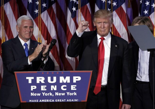 US President-elect Donald Trump and his running mate Mike Pence address their election night rally in Manhattan, New York, US, November 9, 2016.