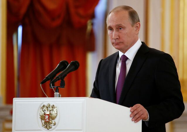 Russia's President Vladimir Putin addresses the audience during a ceremony of receiving diplomatic credentials from foreign ambassadors at the Kremlin in Moscow, Russia, November 9, 2016