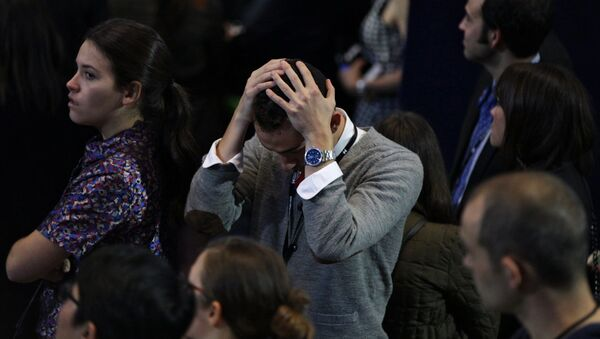 Supporters of the Democratic candidate Hillary Clinton at the Jacob K. Javits Convention Center in New York follow the vote counting in the US presidential election - Sputnik International