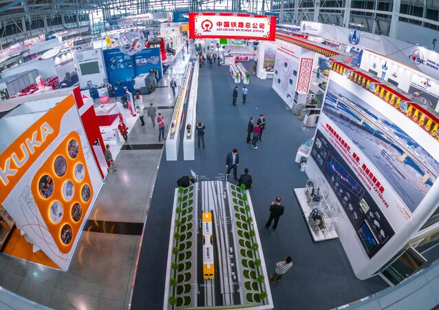 Stand of Chinese Railroads at the opening of the Sixth International Industrial Trade Fair Innoprom-2015 in Yekaterinburg