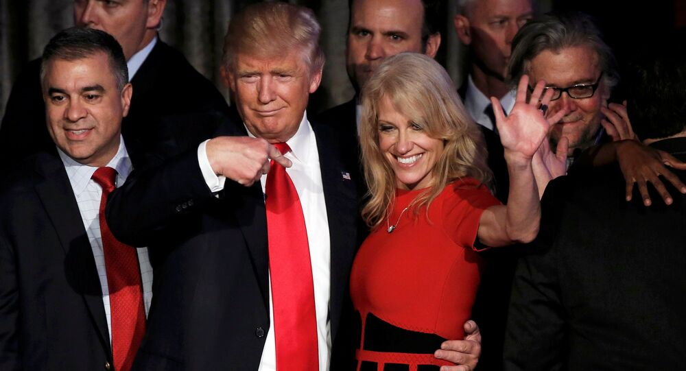 US President-elect Donald Trump and his campaign manager Kellyanne Conway greet supporters during his election night rally in Manhattan, New York, US, November 9, 2016