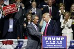 Donald Trump welcomes Nigel Farage, left, ex-leader of the British UKIP party, to speak at a campaign rally in Jackson, Miss., Wednesday, Aug. 24, 2016.