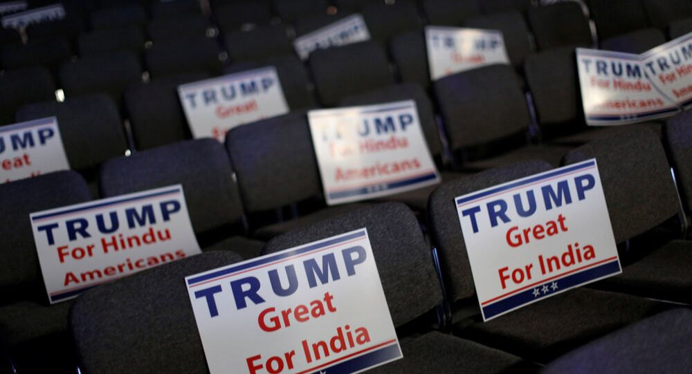 Signs are ready for attendees to hold during Republican presidential nominee Donald Trump's remarks at a Bollywood-themed charity concert put on by the Republican Hindu Coalition in Edison, New Jersey, U.S. October 15, 2016