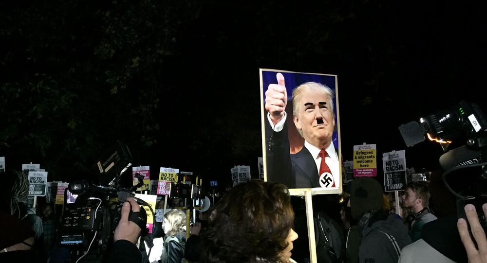 Anti-Trump anti-racism protest outside the US Embassy in London, November 9, 2016.