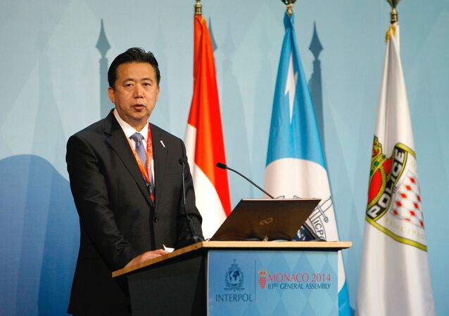 People's Republic of China Vice Minister and Ministry of Public Security, Meng Hongwei, delivers his speech to Interpol members during the 83rd Interpol General Assembly (File)