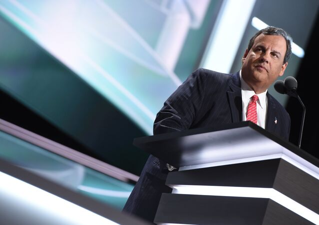 Governor Chris Christie addresses the audience on the second day of the Republican National Convention on July 19, 2016 at the Quicken Loans Arena in Cleveland, Ohio