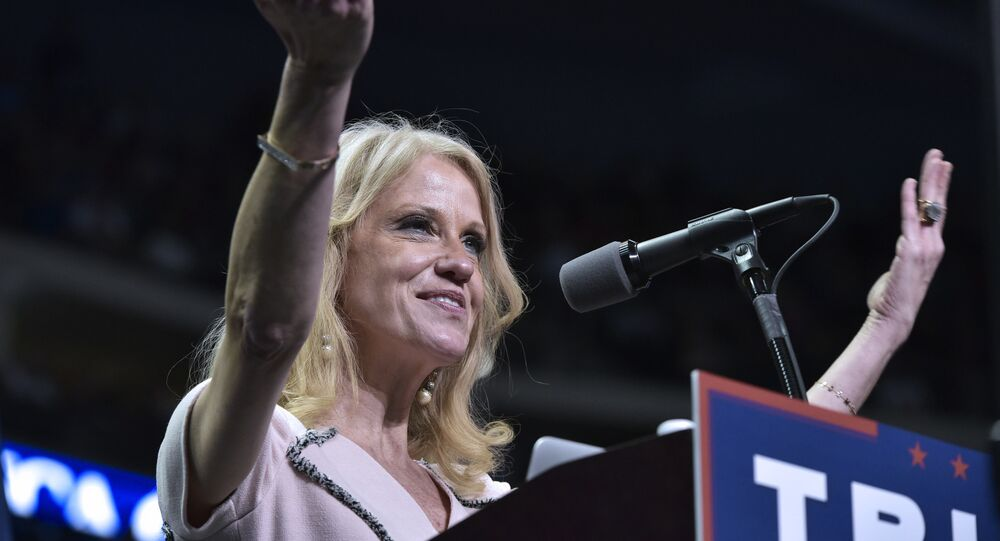 Trump campaign manager Kellyanne Conway speaks at a rally for Republican presidential nominee Donald Trump at the Giant Center in Hershey, Pennsylvania on 4 November 2016