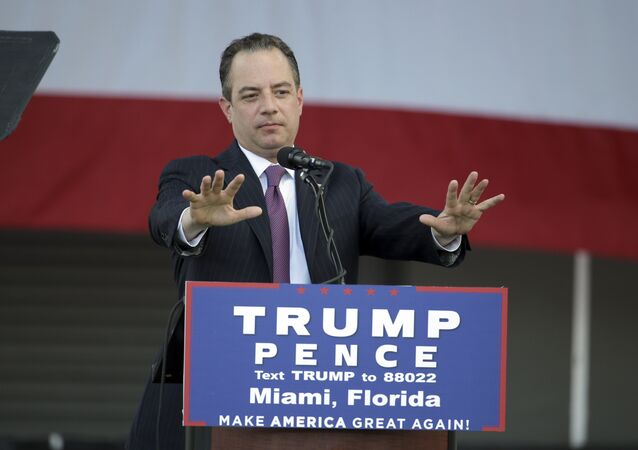 Reince Priebus, chairman of the Republican National Committee, speaks at a campaign rally for presidential candidate DonaldTrump at Bayfront Park Amphitheater, Wednesday, Nov. 2, 2016, in Miami