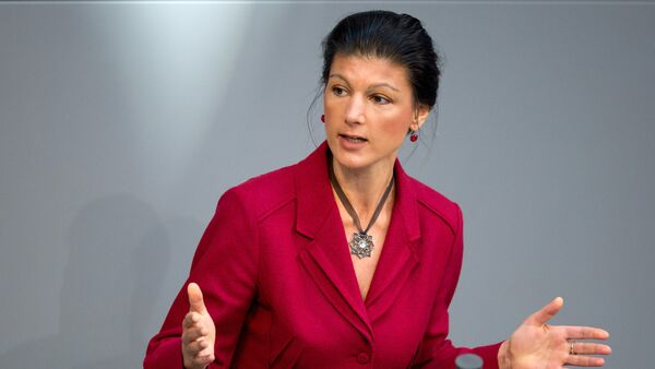 Sahra Wagenknecht of the Left party (Die Linke) delivers her speech at the German parliament on the next EU summit at the German Bundestag in Berlin, on March 19, 2015 - Sputnik International
