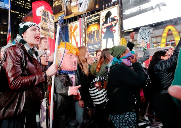 People protest against Republican president-elect Donald Trump in the neighborhood of Manhattan in New York, U.S., November 9, 2016