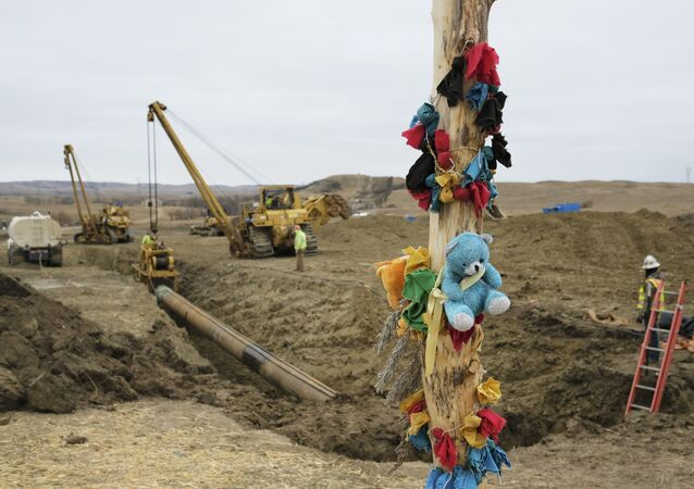A log adorned with colorful decorations remains at a Dakota Access Pipeline protest encampment as construction work continues on the pipeline near the town of Cannon Ball, North Dakota, U.S., October 30, 2016