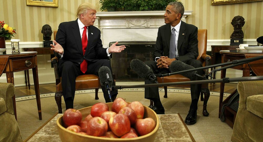 US President Barack Obama meets with President-elect Donald Trump to discuss transition plans in the White House Oval Office in Washington, US, November 10, 2016.