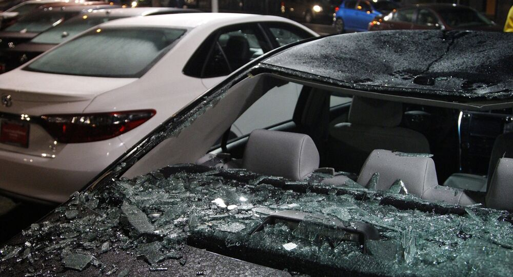 Damaged cars sit on a lot after a riot swept through the area in protest to the election of Republican Donald Trump as President of the United States in Portland, Oregon, U.S. November 10, 2016