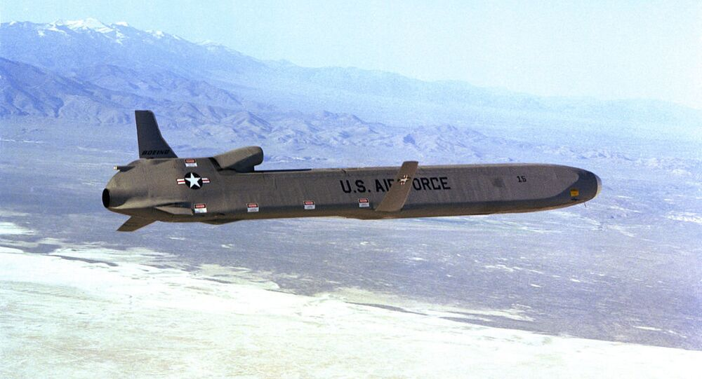 A right side view of an AGM-86 air launched cruise missile (ALCM) in flight