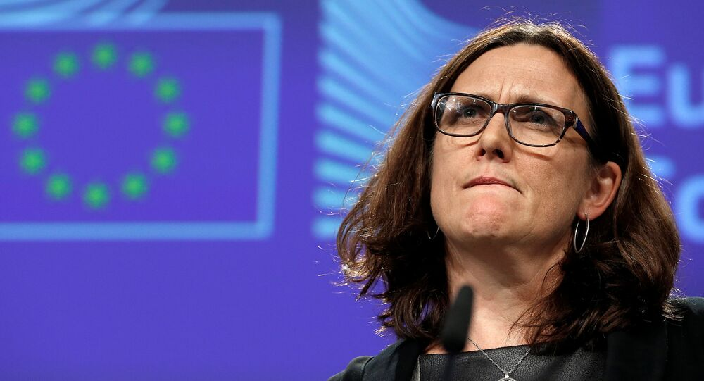 European Trade Commissioner Cecilia Malmstrom holds a news conference on Commission's proposal for a new methodology for anti-dumping investigations, at the EU Commission headquarters in Brussels, Belgium November 9, 2016.