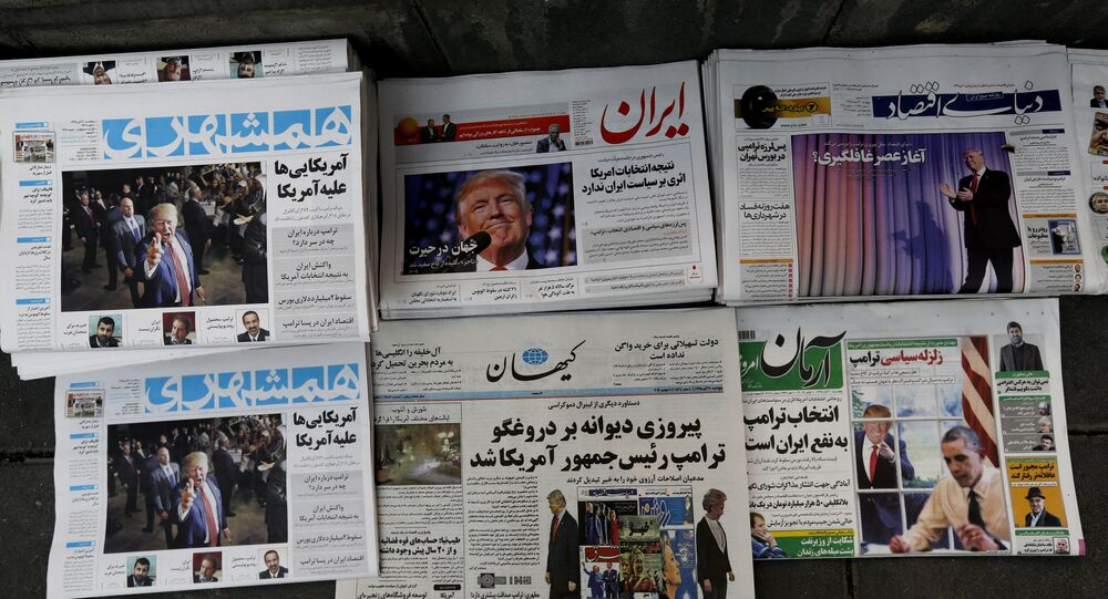 A picture taken on November 10, 2016 in the Iranian capital Tehran shows local newspapers displaying articles on US president-elect Donald Trump a day after his election
