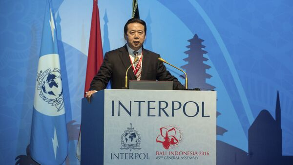 In this photo released by Xinhua News Agency, China's Vice Minister of Public Security Meng Hongwei delivers a campaign speech at the 85th session of the general assembly of the International Criminal Police Organization (Interpol), in Bali, Indonesia, Nov. 10, 2016 - Sputnik International
