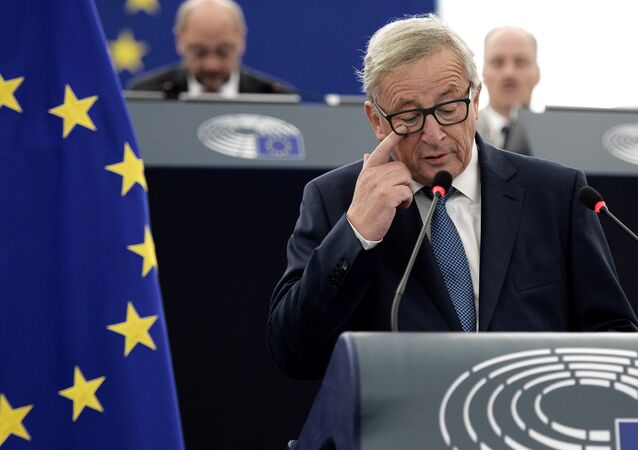European Commission's President Jean-Claude Juncker delivers a speech.