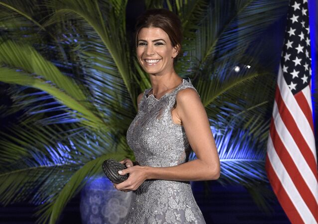 Argentina's First Lady Juliana Awada smiles upon arrival for a dinner with US President Barack Obama, at the Kirchner Cultural Centre in Buenos Aires on March 23, 2016