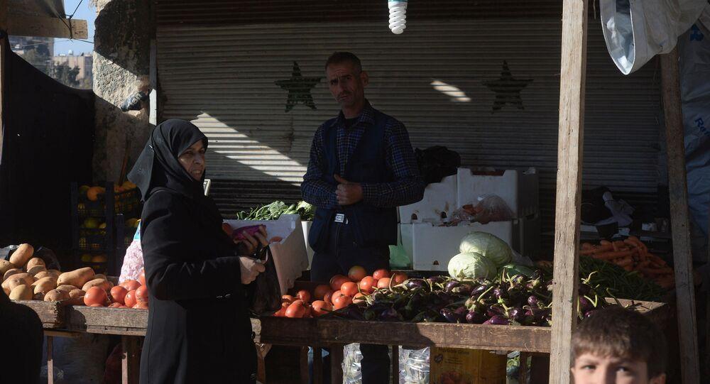 A market in the city of Aleppo, Syria.