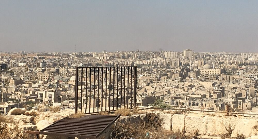 Syria. Terrorist-controlled eastern Aleppo districts as seen from the city's Citadel.