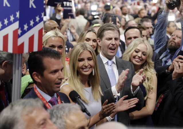 Republican Presidential Candidate Donald Trump's children Donald Trump, Jr., Ivanka Trump, Eric Trump and Tiffany Trump celebrate on the convention floor during the second day session of the Republican National Convention in Cleveland,19 July 2016.