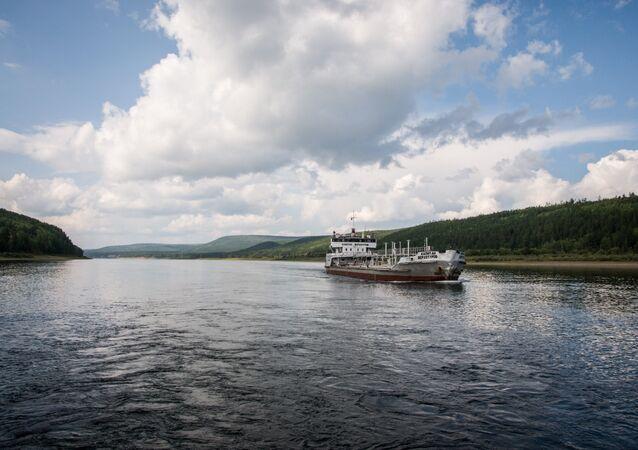 Barge on Lena River