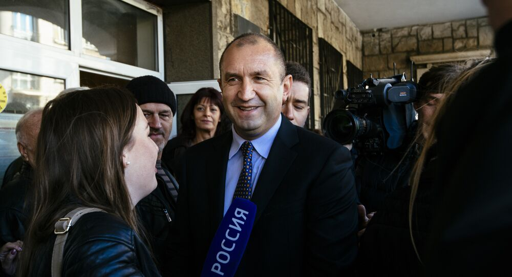 Former head of the Bulgarian airforce Rumen Radev, candidate of the opposition Socialists talks to the media after voting for the presidential elections at a polling station in Sofia