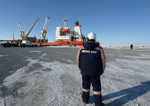 Liquefied natural gas (LNG) plant construction in Yamal, Russia.
