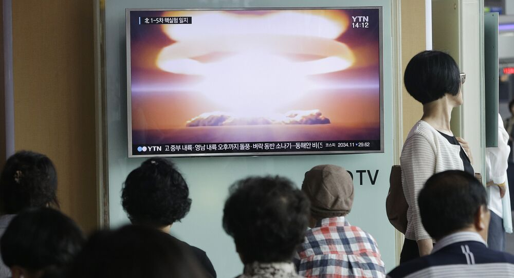 People watch a TV news program reporting North Korea's nuclear test at Seoul Railway Station in Seoul, South Korea. (File)