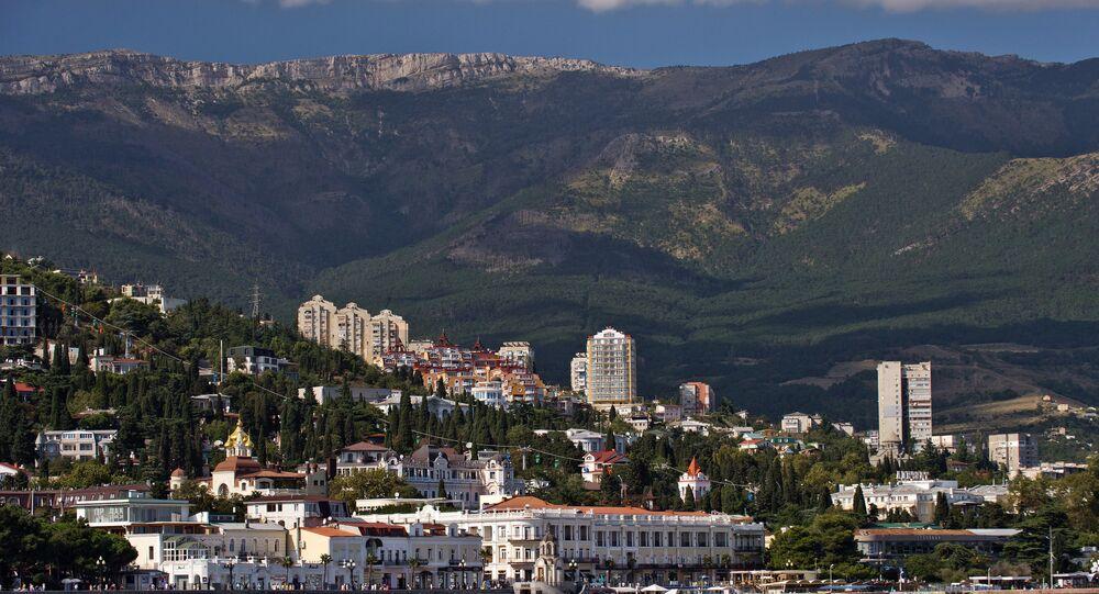Crimea, Russia. Yalta as seen from the Black Sea