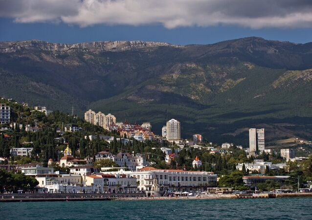 Crimea, Russia. Yalta as seen from the Black Sea